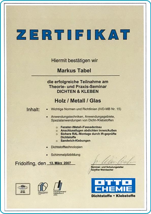 tabema-klebstoffe-dichtstoffe-zertifikat-otto-chemie-dichten-und-kleben-markus-tabel